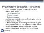 preventative strategies analyses
