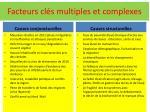 facteurs cl s multiples et complexes