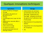 quelques innovations techniques