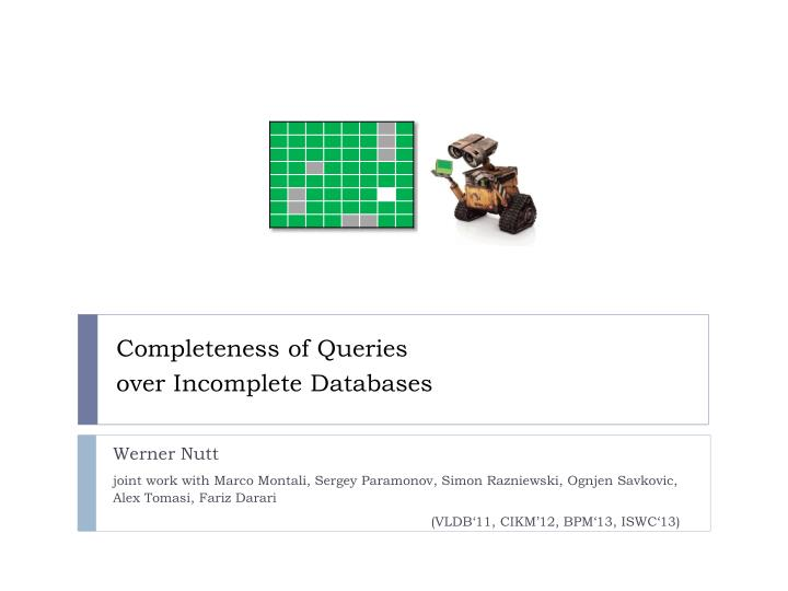 completeness of queries over incomplete databases n.