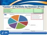 center it portfolio by division fy10