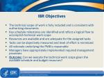 ibr objectives