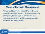 value of portfolio management