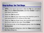 step by step set tab stops