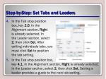 step by step set tabs and leaders1