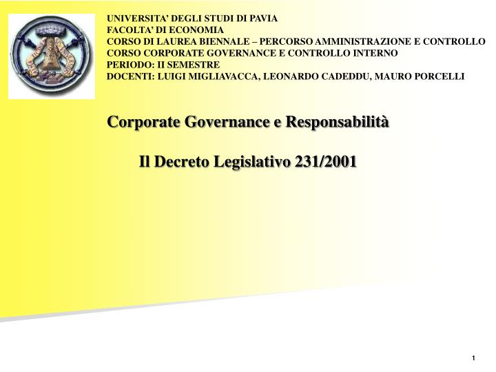 corporate governance e responsabilit il decreto legislativo 231 2001 n.
