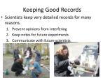 keeping good records