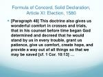 formula of concord solid declaration article xi election 1580