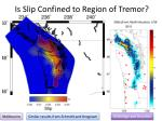 is slip confined to region of tremor