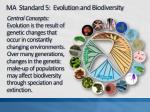 ma standard 5 evolution and biodiversity