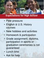 expectations for high school