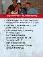 expectations of your host family