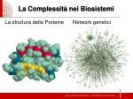 la complessit nei biosistemi