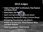 2012 judges