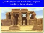 jacob s 12 sons and their families migrated into egypt during a famine