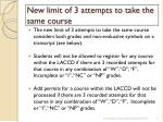 new limit of 3 attempts to take the same course2