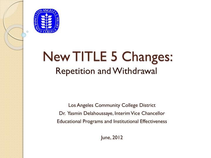 new title 5 changes n.