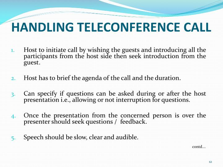 HANDLING TELECONFERENCE CALL