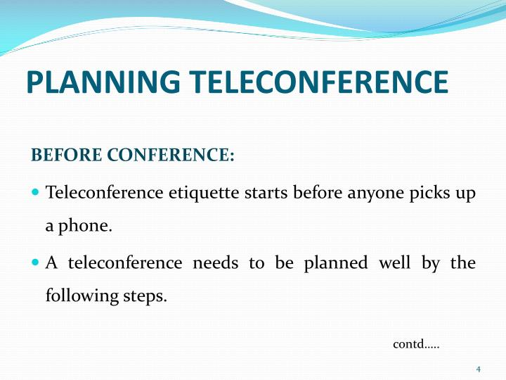 PLANNING TELECONFERENCE