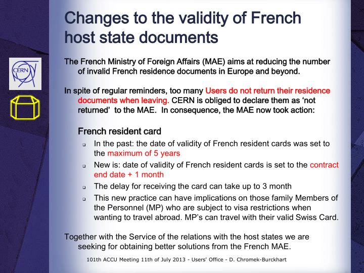 Changes to the validity of french host state documents