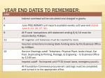year end dates to remember