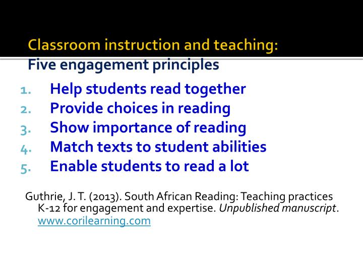 Classroom instruction and teaching: