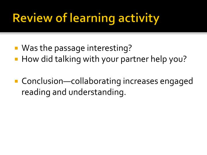 Review of learning activity