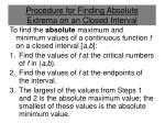 procedure for finding absolute extrema on an closed interval