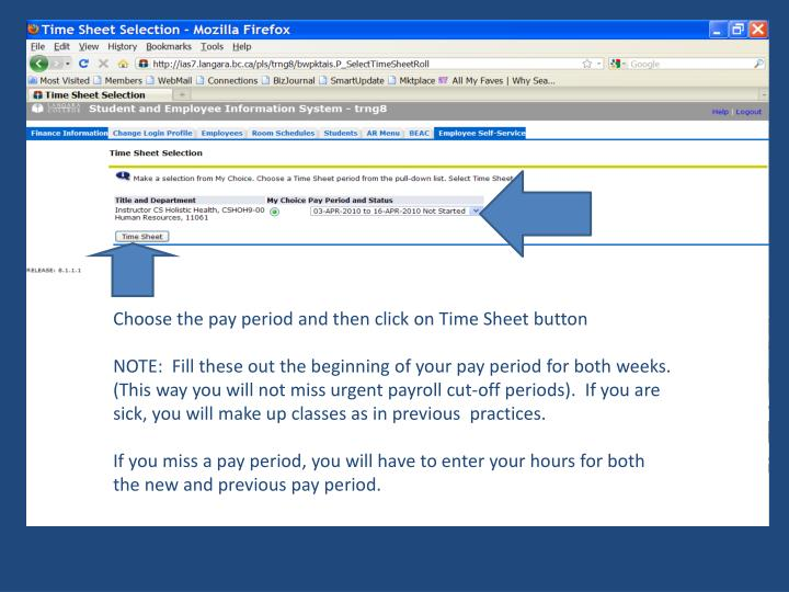 Choose the pay period and then click on Time Sheet button