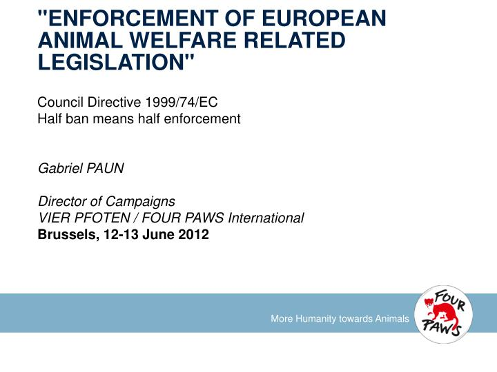 enforcement of european animal welfare related legislation n.