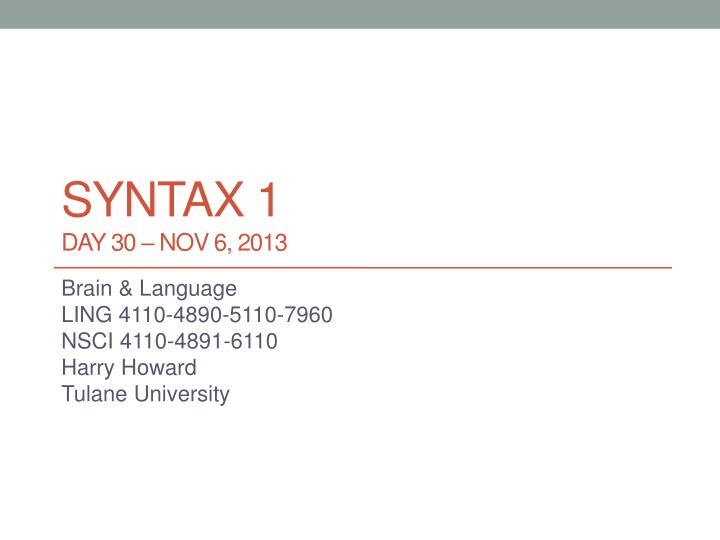 syntax 1 day 30 nov 6 2013 n.