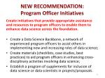 new recommendation program officer initiatives1