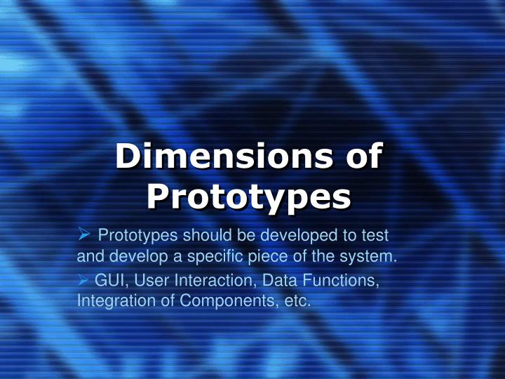 Dimensions of prototypes
