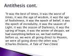 antithesis cont