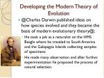 developing the modern theory of evolution