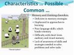 characteristics possible common
