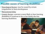 possible causes of learning disabilities