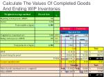 calculate the values of completed goods and ending wip inventories