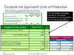 compute the equivalent units of production