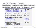 cost per equivalent unit fifo