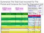 summarize the total cost incurred for the period and compute the cost per equivalent unit