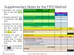 supplementary notes for the fifo method