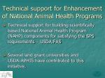 technical support for enhancement of national animal health programs
