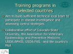 training programs in selected countries