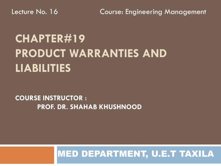 chapter 19 product warranties and liabilities n.