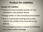 product for liabilities