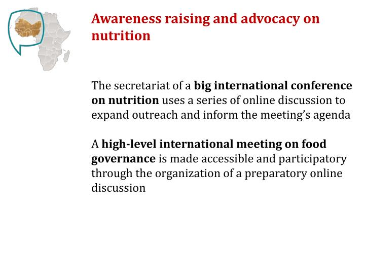 Awareness raising and advocacy on nutrition