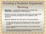 creating a toulmin argument backing