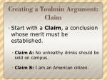 creating a toulmin argument claim