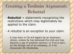 creating a toulmin argument rebuttal
